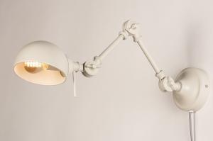 wandlamp 74470 landelijk rustiek modern retro metaal grijs zand rond