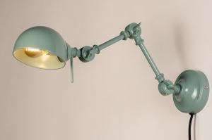 wandlamp 74471 landelijk rustiek modern retro metaal groen rond