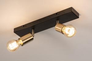 plafondlamp 74479 landelijk rustiek modern eigentijds klassiek messing geschuurd metaal zwart mat goud messing rond rechthoekig