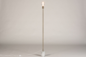 vloerlamp 74480 modern eigentijds klassiek art deco messing geschuurd marmer metaal wit grijs goud messing rond