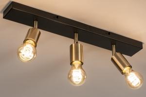 plafondlamp 74481 landelijk rustiek modern eigentijds klassiek messing geschuurd metaal zwart mat goud messing rond rechthoekig