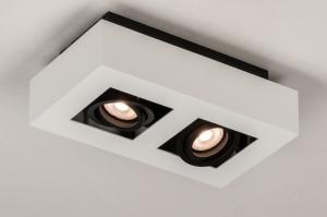 plafondlamp 74484 design modern metaal zwart mat wit rechthoekig