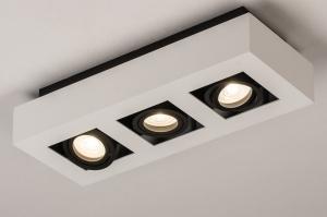 plafondlamp 74485 design modern aluminium zwart mat wit mat rechthoekig