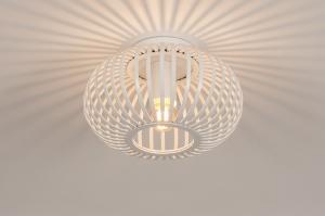 plafondlamp 74492 landelijk rustiek modern retro metaal wit mat rond