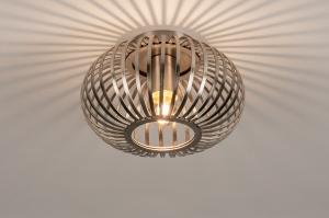 plafondlamp 74493 landelijk rustiek modern retro staal rvs metaal staalgrijs rond