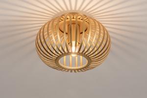 plafondlamp 74494 modern retro eigentijds klassiek art deco messing geschuurd goud messing rond