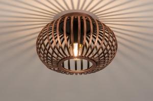 plafondlamp 74495 landelijk rustiek modern retro metaal roodkoper rond