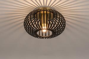 plafondlamp 74496 modern retro eigentijds klassiek metaal zwart mat messing rond