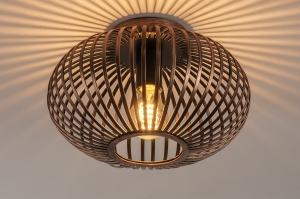 plafondlamp 74497 landelijk rustiek modern eigentijds klassiek metaal roodkoper rond