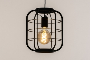 hanglamp 74513 industrie look landelijk rustiek modern metaal zwart mat rond