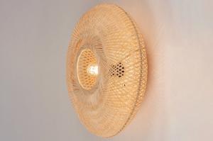 plafondlamp 74515 landelijk rustiek modern retro riet bruin naturel rond