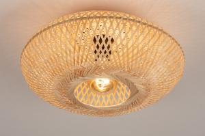 plafondlamp 74516 landelijk rustiek modern retro riet bruin naturel rond