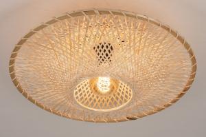 plafondlamp 74517 landelijk rustiek modern retro eigentijds klassiek hout riet bruin beige naturel rond