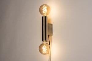 wandlamp 74519 modern eigentijds klassiek messing geschuurd metaal messing rond langwerpig