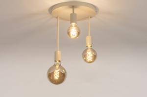 plafondlamp 74549 landelijk rustiek modern metaal beige zand rond