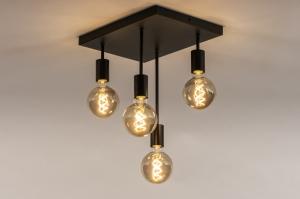 plafondlamp 74550 industrie look landelijk rustiek modern metaal zwart mat rechthoekig