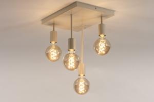 plafondlamp 74551 landelijk rustiek modern metaal beige zand rechthoekig