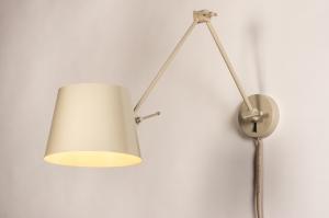 wandlamp 74555 landelijk rustiek modern metaal beige zand rond