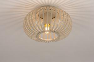 plafondlamp 74558 landelijk rustiek modern retro eigentijds klassiek metaal beige zand rond