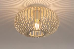 plafondlamp 74559 landelijk rustiek modern eigentijds klassiek metaal beige zand rond