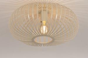 plafondlamp 74560 landelijk rustiek modern eigentijds klassiek metaal beige zand rond