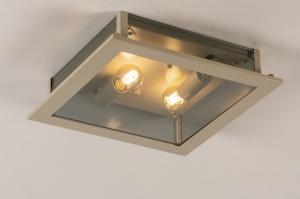 plafondlamp 74567 landelijk modern eigentijds klassiek glas metaal grijs beige zand vierkant