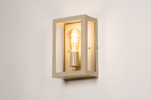 wandlamp 74568 landelijk rustiek modern eigentijds klassiek metaal beige zand rechthoekig