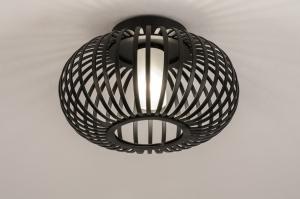 plafondlamp 74569 modern glas wit opaalglas metaal zwart mat rond