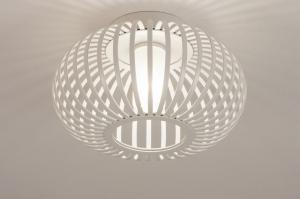 Deckenleuchte 74570 laendlich modern Glas mit Opalglas Metall weiss matt rund