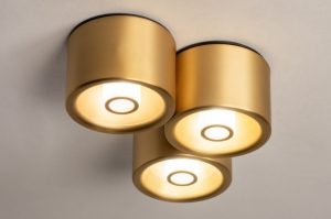 plafondlamp 74586 design modern eigentijds klassiek messing geschuurd metaal goud messing rond