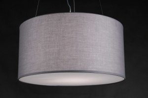 pendant light 80777 rustic modern fabric grey taupe colored round