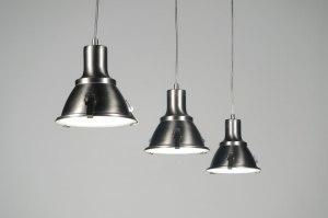 hanglamp 83576 industrie look landelijk rustiek staal rvs metaal staalgrijs rond langwerpig