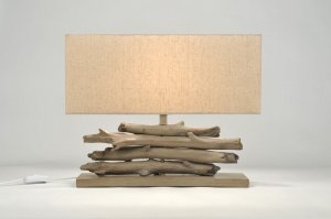 Table lamp 85476: classical, fabric, brown, cream