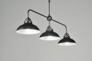 hanglamp 85980 industrie look landelijk rustiek klassiek metaal zwart mat grijs antraciet donkergrijs langwerpig
