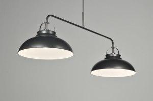 hanglamp 86231 klassiek landelijk rustiek industrie look antraciet donkergrijs grijs metaal langwerpig rond