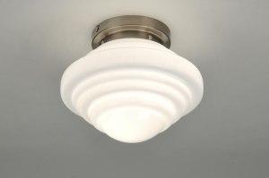 plafondlamp 86833 landelijk rustiek modern retro art deco glas wit opaalglas rond