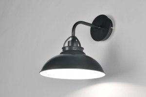 wandlamp 86876 landelijk rustiek eigentijds klassiek metaal grijs antraciet donkergrijs rond