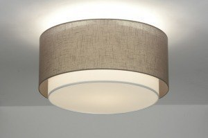 ceiling lamp 87179 rustic modern retro contemporary classical fabric brown taupe colored round
