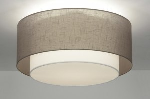 ceiling lamp 87180 rustic modern retro contemporary classical fabric brown taupe colored round