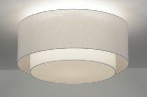 ceiling lamp 87182 rustic modern retro contemporary classical fabric white round