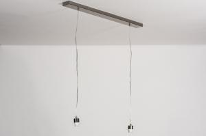 suspension 87184 look industriel moderne classique contemporain acier poli acier gris d acier rond oblongue