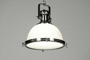 hanglamp 87311 modern klassiek eigentijds klassiek landelijk rustiek industrie look chroom wit glas wit opaalglas rond