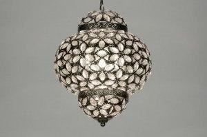 hanglamp 87590 modern eigentijds klassiek kristal acryl kristal metaal grijs zilver  oud zilver rond