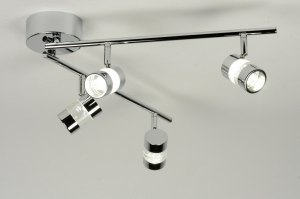 plafonnier 88217 moderne design chrome acier oblongue rond