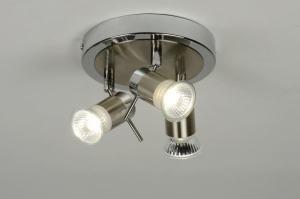 plafondlamp 88473 modern eigentijds klassiek metaal chroom staalgrijs rond