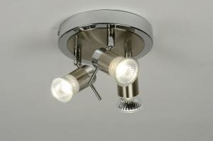 Lampara de techo 88473 Moderno Contemporaneo Clasico Metal Cromo Gris acero Redonda