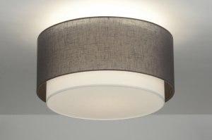 plafondlamp 88529 landelijk rustiek modern eigentijds klassiek stof grijs taupe rond