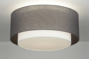 ceiling lamp 88530 rustic modern contemporary classical fabric grey taupe colored round