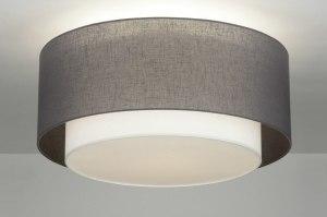 plafondlamp 88530 modern eigentijds klassiek landelijk rustiek grijs taupe stof rond