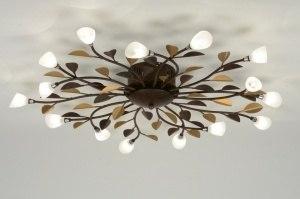 plafondlamp 88566 klassiek eigentijds klassiek landelijk rustiek brons roest bruin roest bruin brons glas wit opaalglas metaal rond